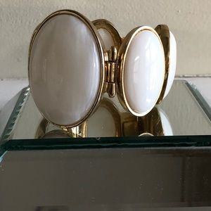 Costume Jewelry - goldwith oval white enamel